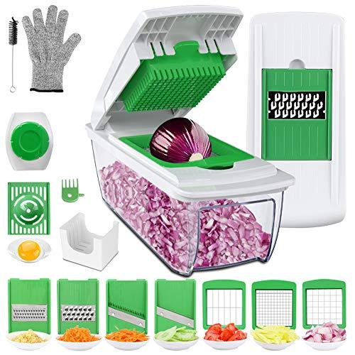 Multiusos Cortador de Verduras Mandolina de Cocina Profesional, 7 Cuchillas con Guantes Resistentes, Separador de Huevo, Cepillo de Limpieza para Cortar Frutas Verduras
