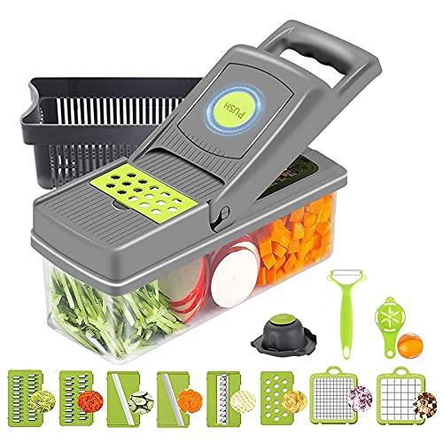 RunSnail 14 en 1 Cortador de Verdura Mandolina de Verduras Multifuncional Cocina Slicer 10-Cuchillas Separador de huevos para tomate, patata, berenjena, queso, rebanador, rallador, trituradora