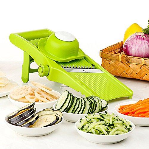 LEKOCH Mandoline Slicer - Cuchilla Ajustable Fino a Grueso Configuración de rebanadas y julianas, Cortador de Vegetales, rallador y rebanador de Verduras, Patata, Tomate, Cebolla, Queso