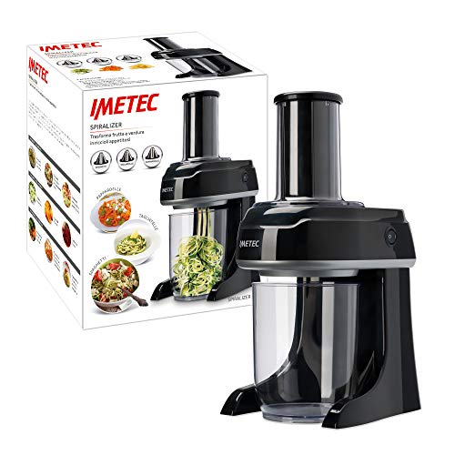 Imetec SP 100 Spiralizer eléctrico, rebanador de verduras en espiral, rebanador de verduras en 3 formas Spaghetti, Tagliatelle, Pappardelle, acero inoxidable, sin BPA 500 ml, sistema de seguridad
